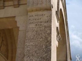 Inscription sur la reocnstruction de l'église - Contributeur : S.Linéatte