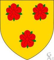 D'or à trois roses de gueules pontées de sinople.  - Contributeur : W.Vaudron