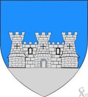 D'azur au château de trois tours d'argents maçonnées de sable, terassé aussi d'argent - Contributeur : W. Vaudron