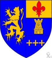 Parti: au 1er d'azur au lion d'or, au 2e tiercé en fasce: au I d'or à la fleur de lis de gueules, au II d'azur à la tour d'or, au III d'azur à trois croisettes d'or rangées en fasce  - Contributeur : W. Vaudron