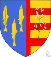 Parti: au premier d'azur aux trois poissons d'or posés en pal, au second d'or aux trois fasces de gueules, à la plante arrachée de sinople, les feuilles d'argent brochant sur le tout   - Contributeur : W. Vaudron