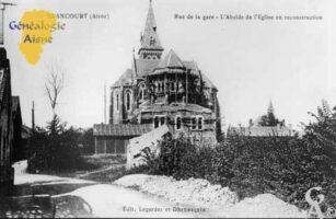 Abside de l'église en reconstruction vue de la rue de la gare - Contributeur : Mairie de Brancourt le Grand