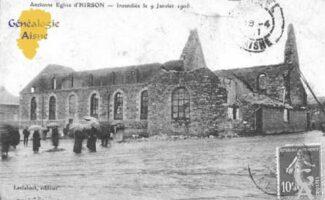 L'ancienne église incendiée le 09 Juin 1906 - Contributeur : Christiane Wéry
