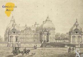 de Blérancourt au XVIIIé siècle. Aquarelle de Tavernier. - Contributeur : (carte postale).