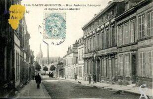 Rue Antoine Lécuyer et église Saint martin. - Contributeur : Carte postale : Sébastien Sartori