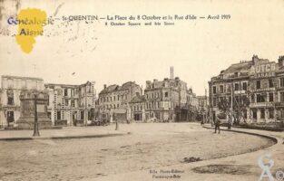 Place du 08 Octobre et la rue d'Isle - Avril 1919. - Contributeur : Michel Bouyenval
