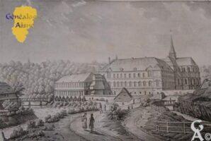 La filature construite en 1808 par Monsieur RAUX, maître de forges à La Neuville-aux-Joutes(08), sur l'emplacement de l'ancienne Abbaye qui était occupé de 1793 jusque 1807 par une verrerie. Cet établissement necessita  des travaux considérables, notamment l'ouverture d'un canal creusé dans le roc. <br> La filature passa ensuite à MM. LEGOUPIL, REICHEMBACH et Cie, négociants à Saint-Quentin. - Contributeur : Extrait du livre : Monuments de l'Aisne de MM. Brayer et Pingret. Contribution de Mr Nivelet.