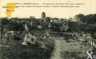 Vue générale côté Nord-Est, avec cimetière et tombes des soldats morts pour la patrie, invasion Allemande Juin 1918.  - Contributeur : François Gérard