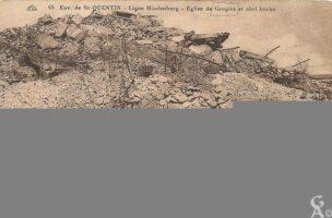 Ligne Hindenburg -eglise et abri boche - Contributeur : R.Hourdry