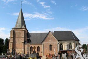 L'église vue du cimetière -A.DEmolder