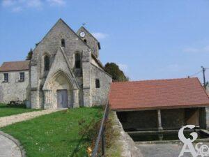 L'église et le lavoir -Michel Leleu