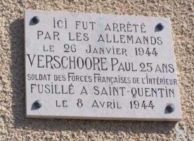 Plaque Commémorative Paul VERSCHOORE