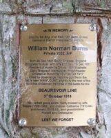 Plaque Commémorative William Norman BURNS