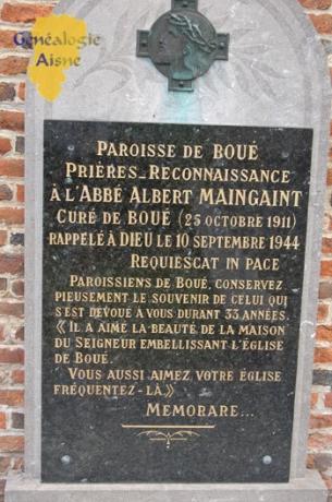PLaque en hommage à l'abbé MAINGAINT - église
