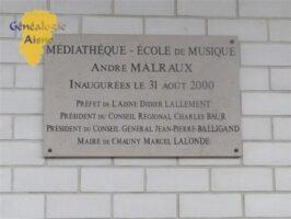 Plaque - Médiathèque - Ecole de musique André Malraux