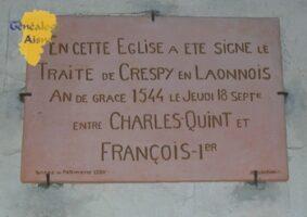 Plaque du Traité de Crespy en Laonnois