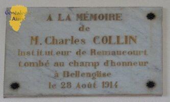 Plaque pour Charles COLLIN