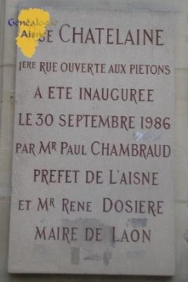 Plaque inauguratrice de la rue Châtelaine