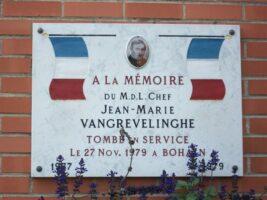 Plaque Commémorative Jean Marie VANGREVELINGHE