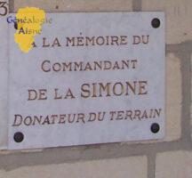 Plaque Commémorative du Commandant DE LA SIMONE