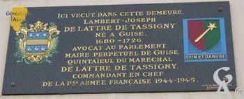 Plaque :Domicile de Joseph DE LATTRE DE TASSIGNY
