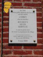 Plaque en hommage aux familles BOUDOUX, HULIN et MAROUZE