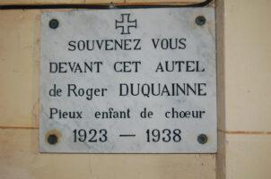 Plaque Commémorative Roger DUQUAINNE