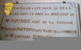 Plaque Construction de l'église