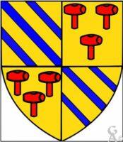 Ecartelé : au premier et quatriéme d'or aux trois bandes d'azur, au deuxiéme et troisiéme d'or aux trois maillets de gueules  - Contributeur : W.Vaudron