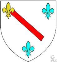 D'argent au bâton alésé de gueules aux trois fleurs de lys celle du chef à dextre d'or les deux autres d'azur  - Contributeur : W.Vaudron