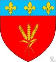 De gueules au trois épis tigés et feuillés d'or passés en pal et en sautoir, au chef cousu d'azur chargé de trois fleurs de lys aussi d'or - Contributeur : W.Vaudron