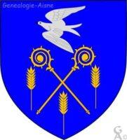 D'azur à deux crosses d'abbé d'or passées en sautoir, accompagnées en flancs et en pointe de trois épis de blé du même et en chef d'une colombe d'argent en vol.  - Contributeur : W.Vaudron