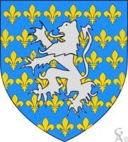 D'azur semé de fleurs de lys d'or au lion d'argent brochant  - Contributeur : W.Vaudron