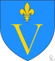 D'azur à la lettre V capitale d'or surmontée d'une fleur de lys du même. - Contributeur : W.Vaudron