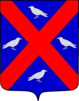 D'azur au sautoir cousu de gueules, cantonné de quatre oiseaux d'argent , les 2e et 4e contournés.  - Contributeur : W.Vaudron