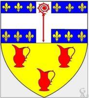 Coupé au 1/ d'azur semé de fleurs de lys d'or, à la croix brochant d'argent chargée d'une crosse de gueules au 2/d'or aux trois urcéoles de gueules.  - Contributeur : W.Vaudron