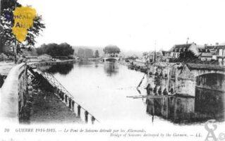Le pont de Soissons détuit par les Allemands. - Contributeur : Christiane Brenu