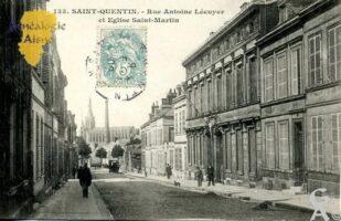 Rue Antoine Lécuyer et l'église Saint- Martin. - Contributeur : Maryse Trannois