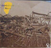 la gare S.N.C.F incendiée. - Contributeur : Source archives municipales de Saint-Quentin, fond iconographique. Contr : Sébastien Sartori.