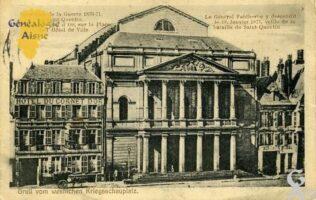 Souvenirs de la Guerre 1870 - 1871 à Saint Quentin. L'hôtel du Cornet d'Or, sur la place de l'Hôtel de Ville. Le Général Faidherbe y descendit le 18 janvier 1871.Veille de la bataille de Saint Quentin.  - Contributeur : Maryse Trannois