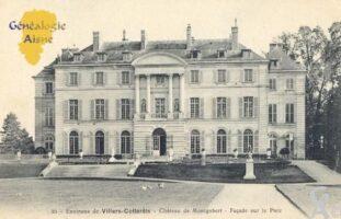 Château de Montgobert, façade principale. - Contributeur : Carte postale : Sébastien Sartori