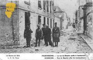 la Guerre de 1914 - la rue de Beauton aprés le bombardement. - Contributeur : Christiane Brenu
