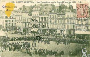 les Prussiens sur la Grand ' Place en 1871 - Contributeur : Contributeur Wikipédia, Commons et Rodovid