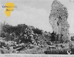 L'église détruite par les Allemands- Ruines de l'autel de la Vierge - Contributeur : Colette Brille