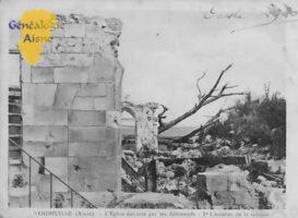 L'église détruite par les Allemands  - Contributeur : Colette Brille