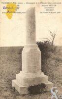 Monument à la Mémoire des Lieutenants Max BERARD pilote aviateur 1891/1918, Jacques SEYLER observateur 1892/1918. Tombés glorieusement pour la France le 24 Octobre 1918. - Contributeur : Michel Bouyenval