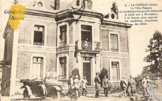 Villa Pasques où s'arrêtèrent les envoyés Allemands le jeudi soir 07 Novembre à 22 heures, pour recevoir les conditions d'armistice des Alliés.  - Contributeur : Michel Bouyenval