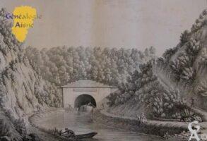 canal souterrain à Riqueval - Contributeur : A. NIvelet Gravure extraite du livre: Monumens de l'aisne - Pringuet et Brayer