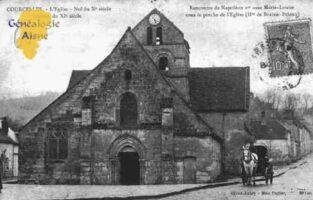 L'église - Nef du Xéme siècle - Clocher du XIéme siècle. Rencontre de Napoléon Ier avec Marie Louise sous le porche de l'Eglise.  - Contributeur : Guy Gilkin