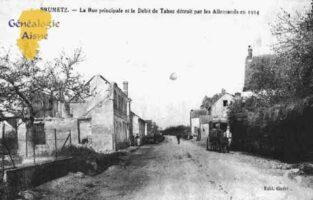 La Rue Principale et le Débit de Tabac détruit par les Allemands en 1914.  - Contributeur : Guy Gilkin